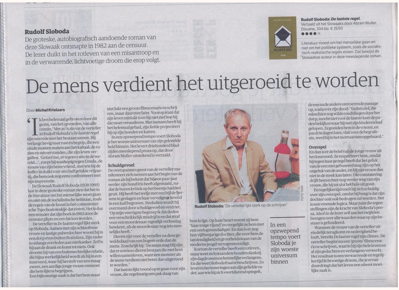 recensie Sloboda, 15 mei 2015, NRC Handelsblad